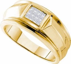 14KT Yellow Gold 0.25CTW DIAMOND INVISBLE MENS RING - Rings