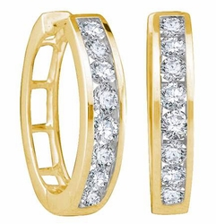 14KT Yellow Gold 0.25CTW ROUND DIAMOND LADIES FASHION HOOPS EARRINGS - Earrings
