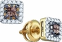14KT Yellow Gold 0.30CTW COGNAC DIAMOND LADIES  INVISIBLE EARRINGS - Earrings