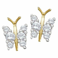 14KT Yellow Gold 0.30CTW ROUND DIAMOND LADIES FASHION EARRINGS - Earrings