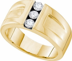 14KT Yellow Gold 0.49CTW DIAMOND 3  STONE  MENS RING - Rings