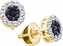 14KT Yellow Gold 0.50CTW BLACK DIAMOND LADIES  FLOWER EARRINGS - Earrings