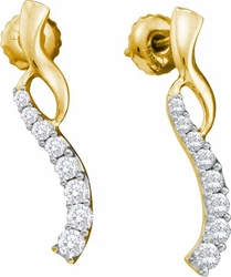 14KT Yellow Gold 0.50CTW DIAMOND  JOURNEY EARRINGS - Earrings