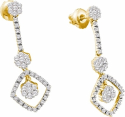 14KT Yellow Gold 0.75CTW DIAMOND FLOWER EARRINGS - Earrings