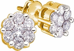14KT Yellow Gold 1.00CTW  DIAMOND FLOWER  EARRINGS - Earrings