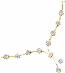 14KT Yellow Gold 1.00CTW DIAMOND FLOWER  NECKLACE