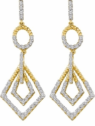 14KT Yellow Gold 1.00CTW DIAMOND LADIES  EARRINGS - Earrings