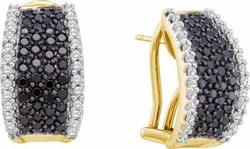 14KT Yellow Gold 1.50CTW BLACK DIAMOND FASHION EARRINGS - Earrings
