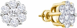 14KT Yellow Gold 1.50CTW DIAMOND FLOWER EARRINGS - Earrings
