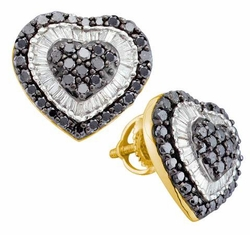14KT Yellow Gold 1.50CTW  DIAMOND   HEART EARRINGS - Earrings