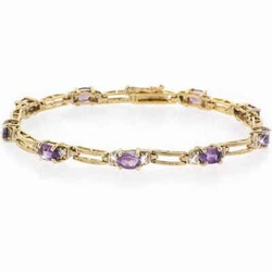 18K Gold over Sterling Silver Amethyst  & Diamond Accent Rectangle Link Bracelet