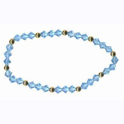 18K Gold over Sterling Silver Aqua Swarovski Elements Stretch Bracelet