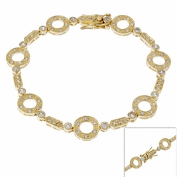 18K Gold over Sterling Silver Circle & Bar Link Bracelet