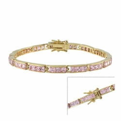 18k Gold over Sterling Silver Pink Square CZ Tennis Bracelet