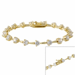 18k Gold over Sterling Silver Round CZ Tennis Bracelet