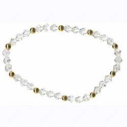 18K Gold over Sterling Silver Swarovski Elements Stretch Bracelet
