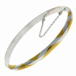 18K Gold over Sterling Silver Two-Tone Argyle Bangle Bracelet