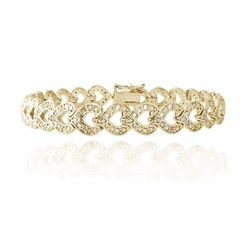 18K Gold Plated 1ct Diamonds Heart Link Bracelet