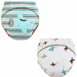 2 PCs Lovely Plane Toddlers Reusable Washable Baby Newborn Diaper Pants M