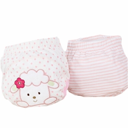 2 PCs Lovely Sheep Pink Toddlers Reusable Washable Baby Newborn Diaper Pants M