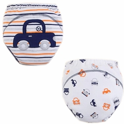 2 PCs Stripe Lovely Car Toddlers Reusable Washable Baby Newborn Diaper Pants M