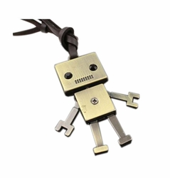 2 Pieces Of Retro Artistic Cow Leather Cord Robot Pendant Necklace
