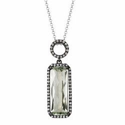 "4.84 Carat Diamond Amethyst 14K White Gold Gemstone Necklace 3.13g 16"" -"