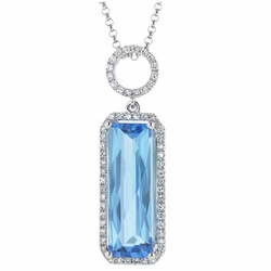 "4.94 Carat Diamond Topaz 14K White Gold Gemstone Necklace 2.92g 16"" -"