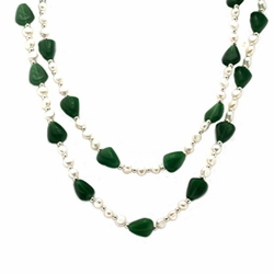40 Inches Pearl Jade Silver Bead Pendant Necklace Chain