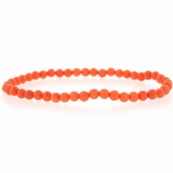 4mm Created Pink Coral Beads Stretch Bracelet