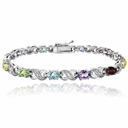 5.5ct Silver Tone Multi Colored and Diamond Accent Infinity Bracelet