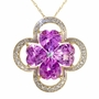 6 1/2 Carat Pink Topaz Diamond Yellow Gold Heart Clover Pendant Necklace Chain