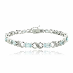 6.6ct Blue Topaz & Diamond Accent Infinity Bracelet
