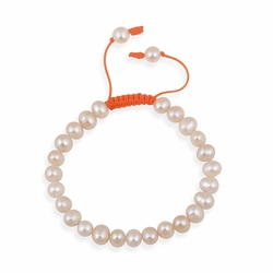 7.5-8mm Freshwater Cultured Peach Pearl Adjustable Bracelet
