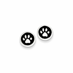 925 Sterling Silver Black Enamel Paw Print Stud Earrings
