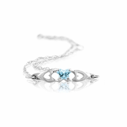 925 Sterling Silver Blue Green Synthetic Cubic Zirconia Children'S Butterfly Bracelet