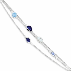 925 Sterling Silver Blue & White Synthetic Cubic Zirconia Triple Box Chain Bracelet
