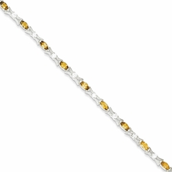 925 Sterling Silver Citrine and Synthetic Cubic Zirconia X and O Bracelet - Size: 7.5