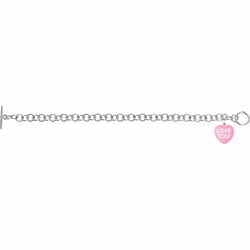 925 Sterling Silver Dark Pink Enamel Love You Heart Bracelet