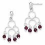 925 Sterling Silver Garnet Chandelier Rope Accent Dangle Earrings - 35mm