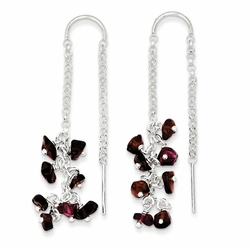 925 Sterling Silver Garnet Raindrop Cluster Threader Earrings