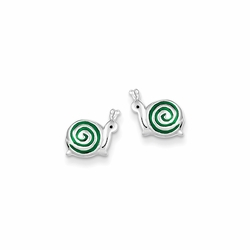 925 Sterling Silver Green Enamel Children'S Snail Stud Earrings