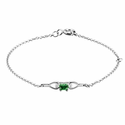 925 Sterling Silver Green Synthetic Cubic Zirconia Kid'S Butterfly Prong Set Bracelet