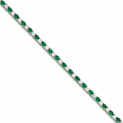 925 Sterling Silver Green & White Synthetic Cubic Zirconia Round Tennis Bracelet