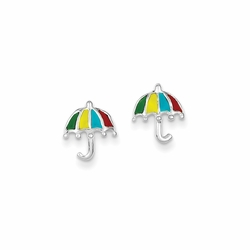 925 Sterling Silver Green, Yellow, Blue and Red Enamel Children'S Umbrella Stud Earrings
