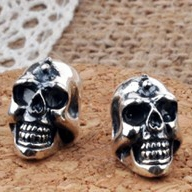 .925 Sterling Silver Guys Earrings Skull Jewelry for Men's Gothic Fashion (ONE EARRING)