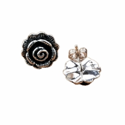 .925 Sterling Silver Hypoallergenic Rose Earrings -