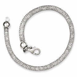 925 Sterling Silver Mesh Style White Crystal Chain Bracelet