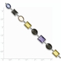 925 Sterling Silver Multiple Colored Synthetic Cubic Zirconia Oval and Rectangle Bracelet