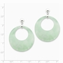 925 Sterling Silver Open Circle Style Green Jade Dangle Earrings